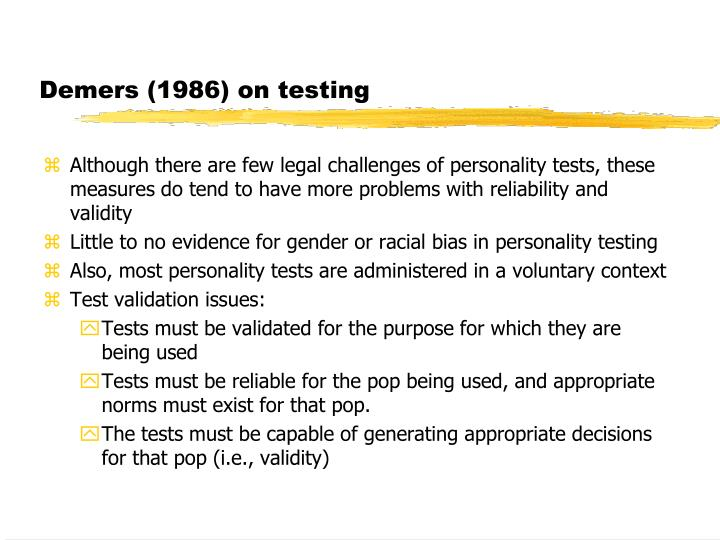 Demers (1986) on testing