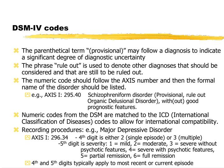 DSM-IV codes