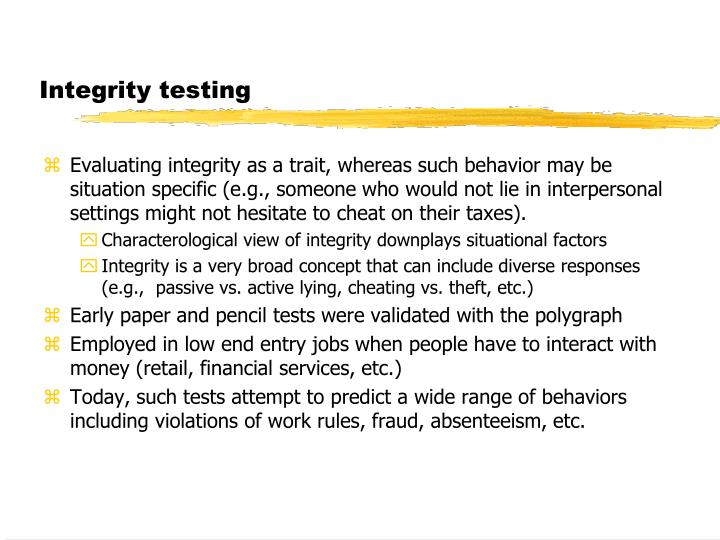Integrity testing