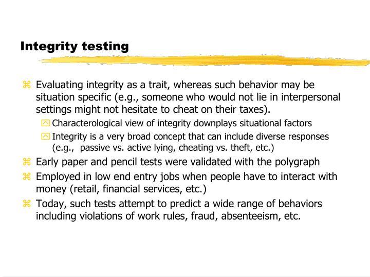 Integrity testing