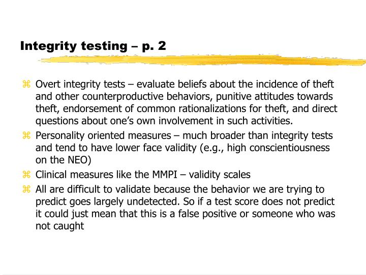 Integrity testing – p. 2