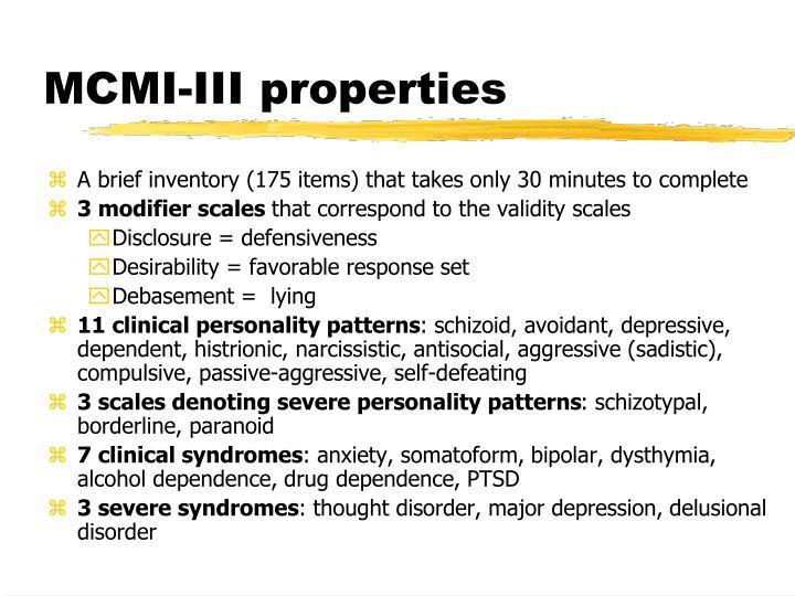 MCMI-III properties