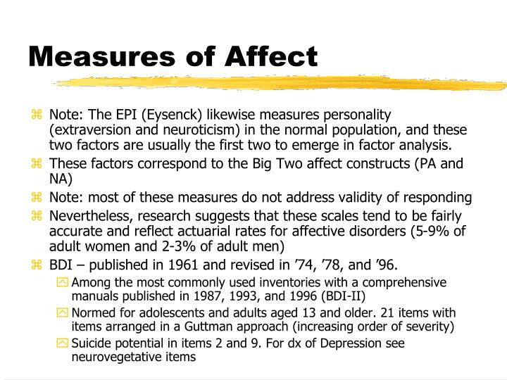 Measures of Affect