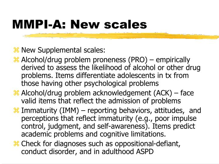 MMPI-A: New scales