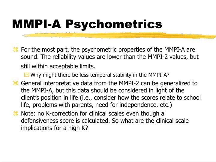 MMPI-A Psychometrics