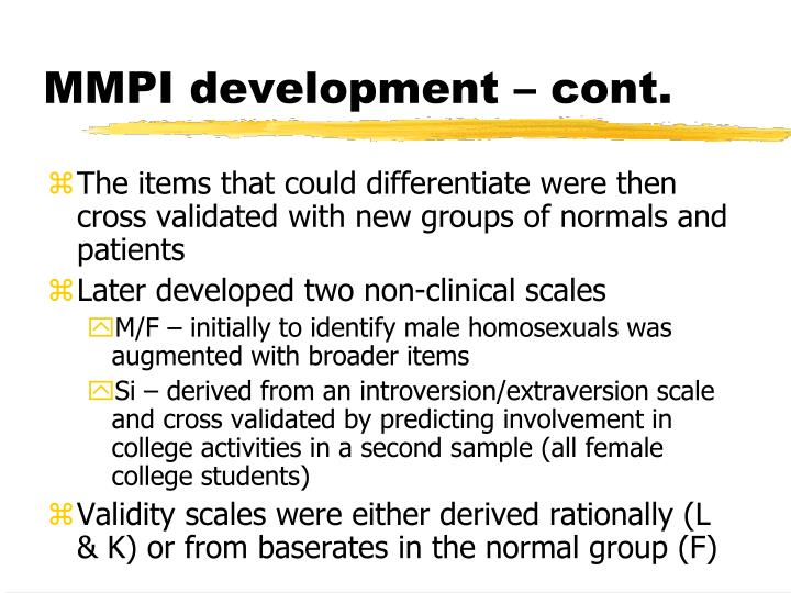 MMPI development – cont.