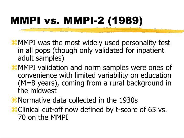 MMPI vs. MMPI-2 (1989)