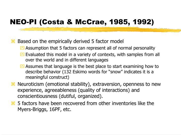 NEO-PI (Costa & McCrae, 1985, 1992)
