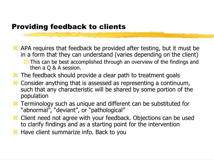 Providing feedback to clients