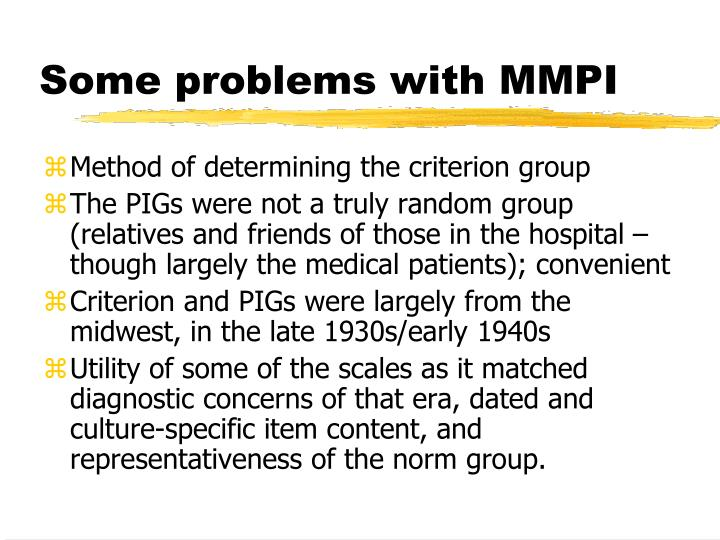 Some problems with MMPI