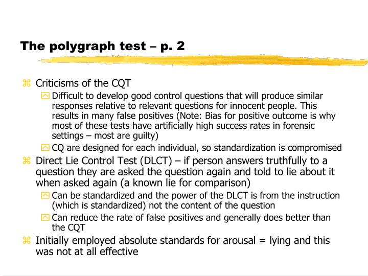 The polygraph test – p. 2
