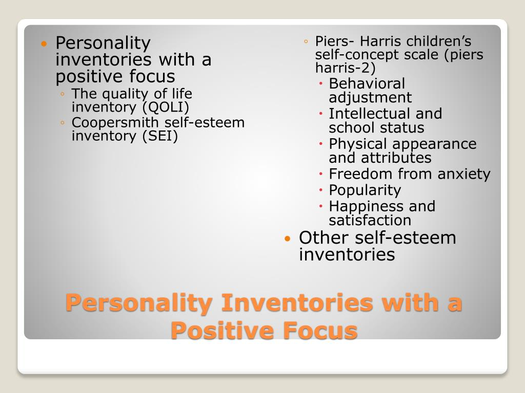 Personality inventories with a positive focus