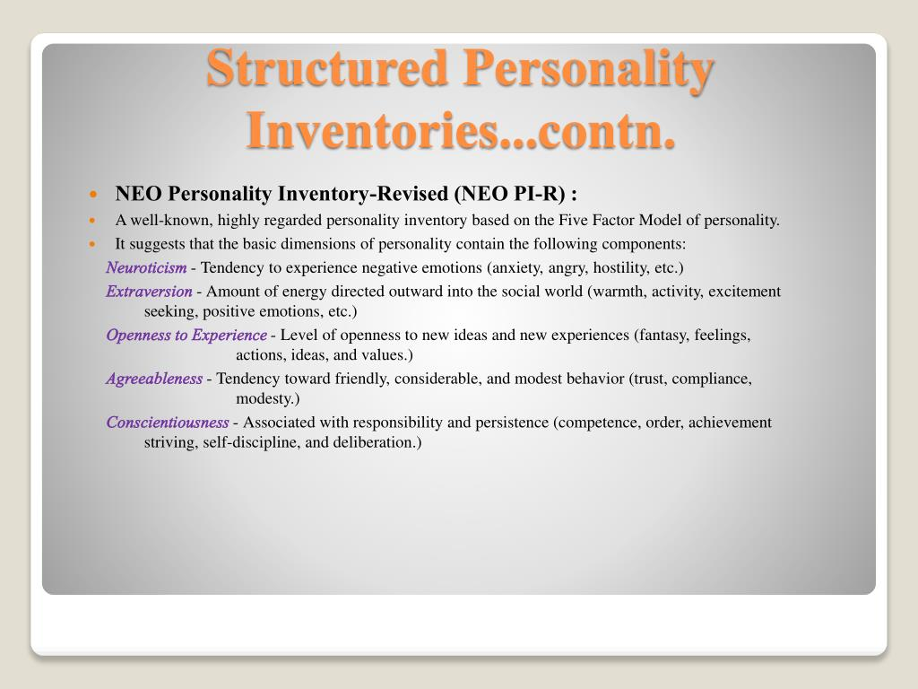 NEO Personality Inventory-Revised (NEO PI-R) :