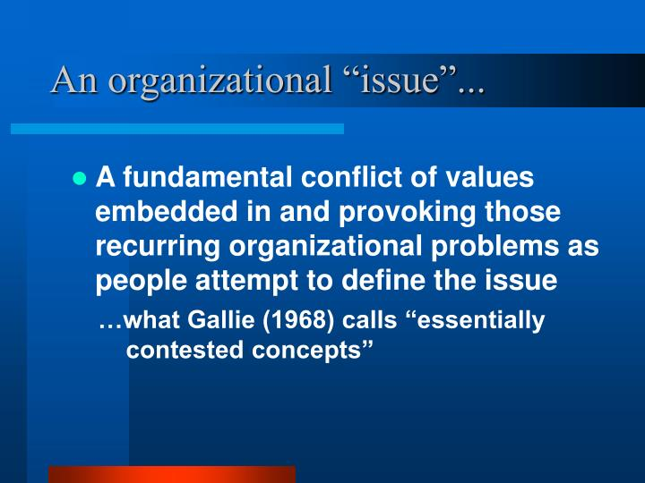 An organizational issue