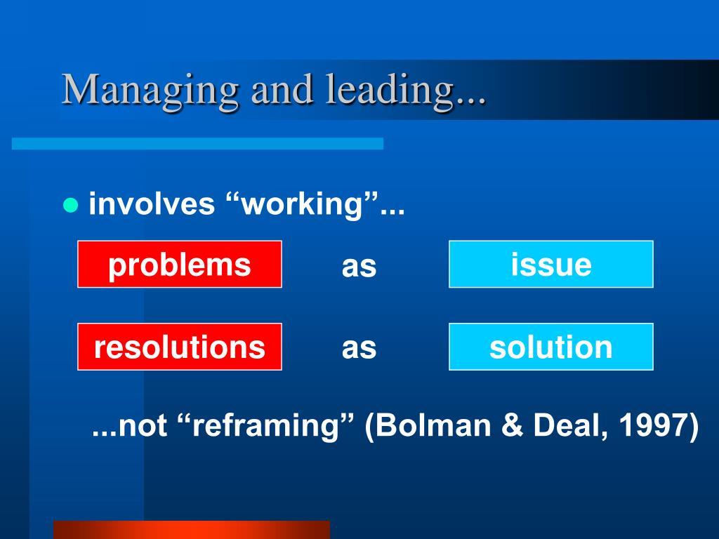 Managing and leading...