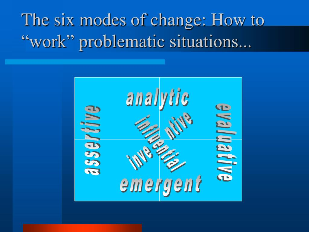 "The six modes of change: How to ""work"" problematic situations..."