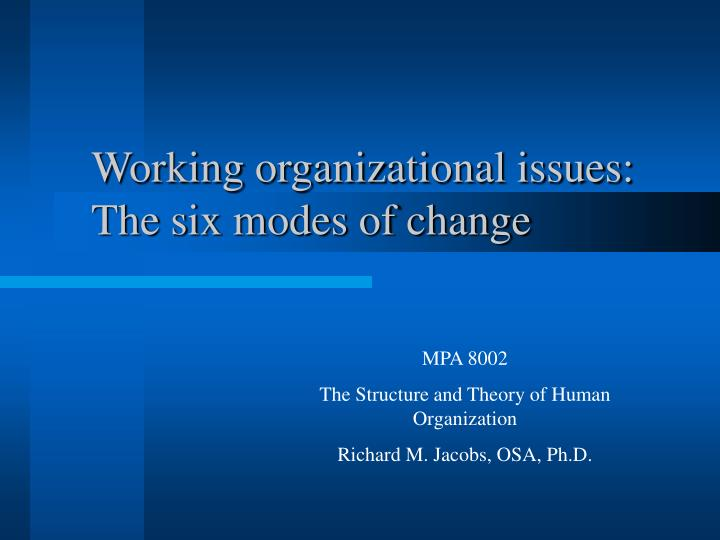 Working organizational issues the six modes of change