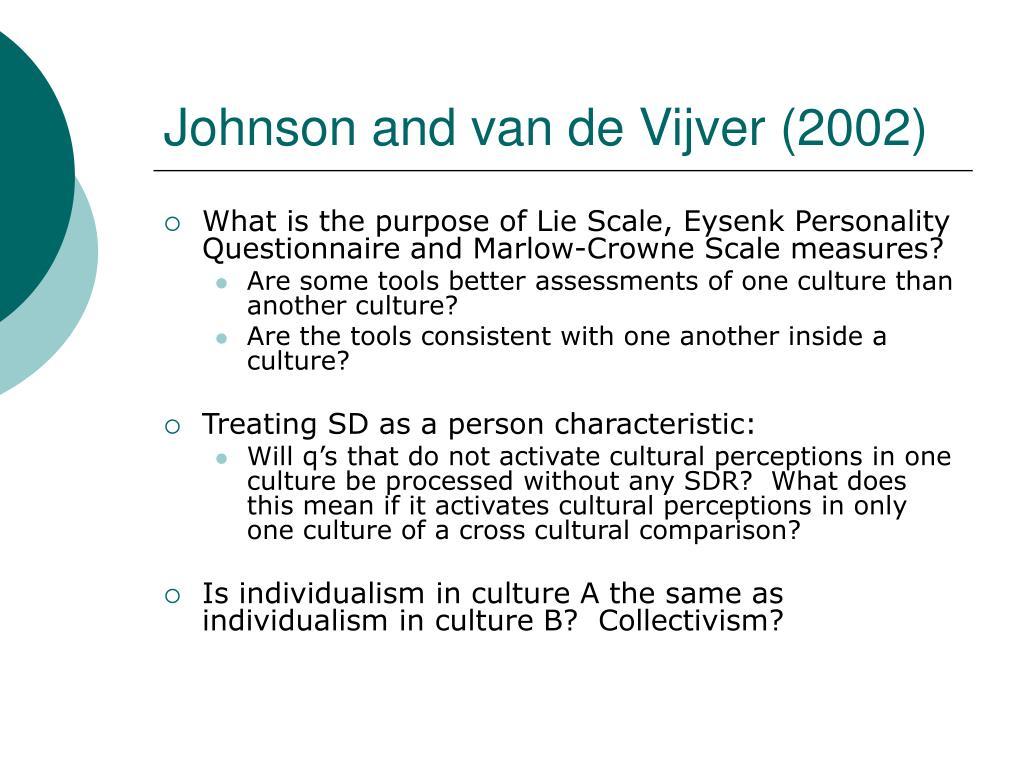 Johnson and van de Vijver (2002)