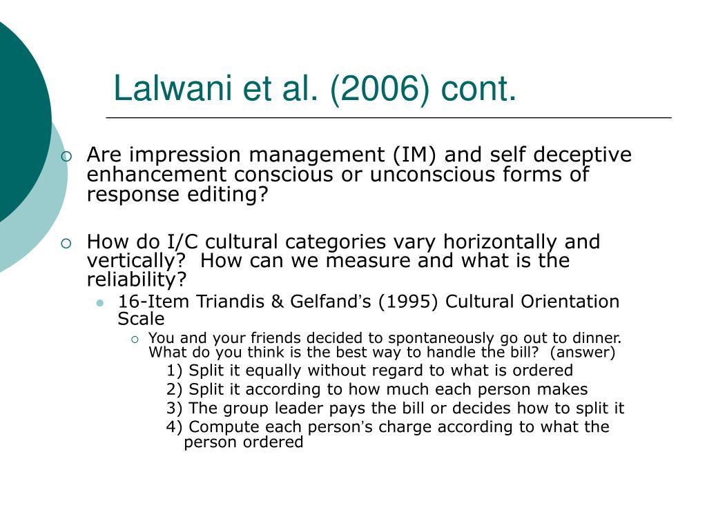 Lalwani et al. (2006) cont.