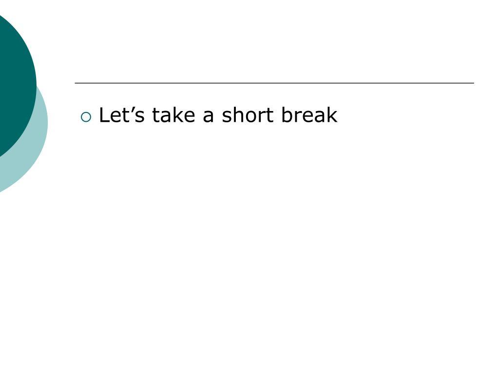 Let's take a short break