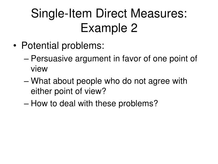 Single-Item Direct Measures: Example 2