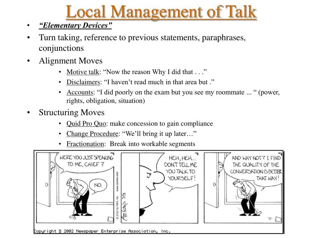 Local Management of Talk