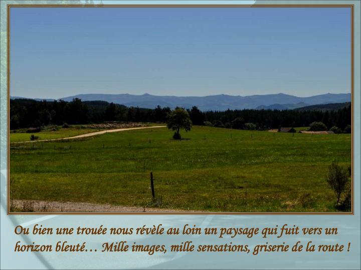 Ou bien une trouée nous révèle au loin un paysage qui fuit vers un horizon bleuté… Mille images, mille sensations, griserie de la route !
