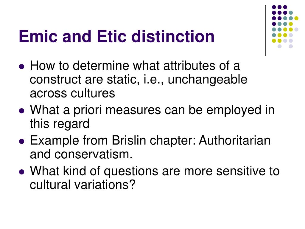 Emic and Etic distinction