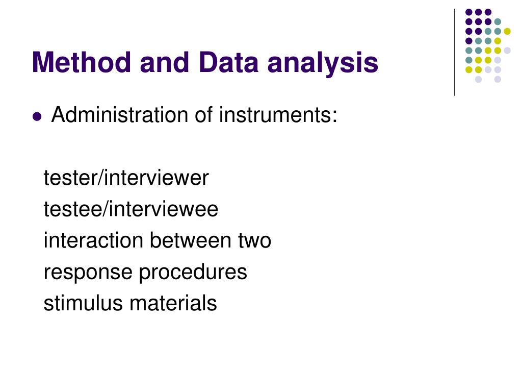 Method and Data analysis