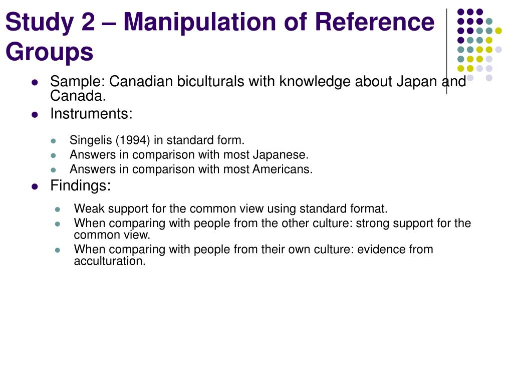 Study 2 – Manipulation of Reference Groups