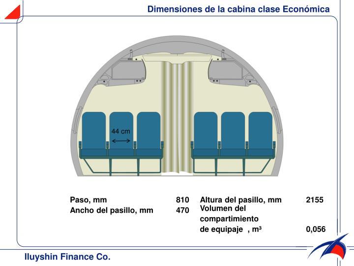 Dimensiones de la cabina clase Económica