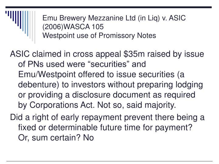 Emu Brewery Mezzanine Ltd (in Liq) v. ASIC (2006)WASCA 105