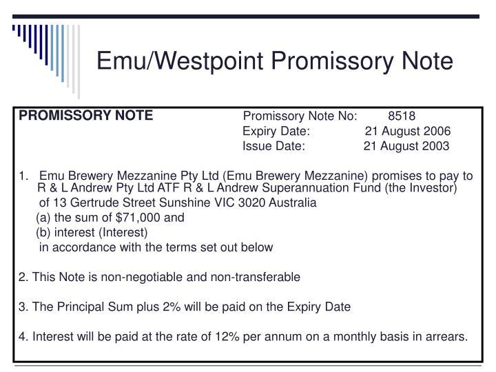 Emu/Westpoint Promissory Note