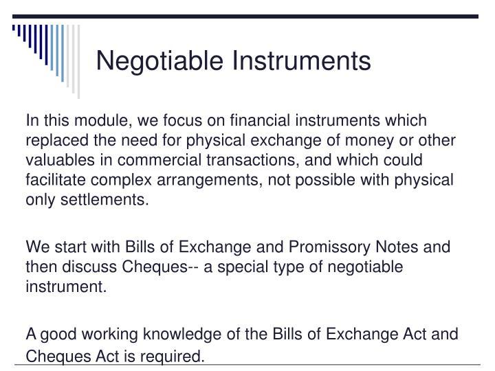 Negotiable Instruments