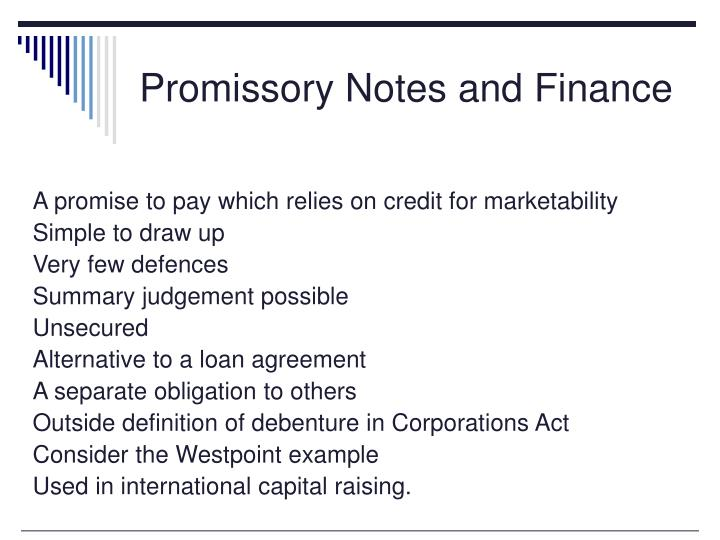 Promissory Notes and Finance