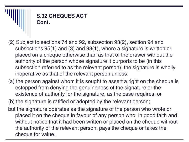 S.32 CHEQUES ACT