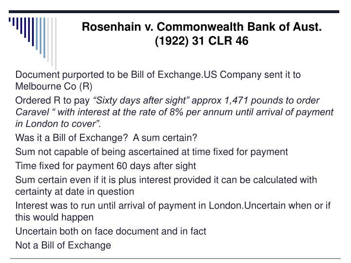 Rosenhain v. Commonwealth Bank of Aust.