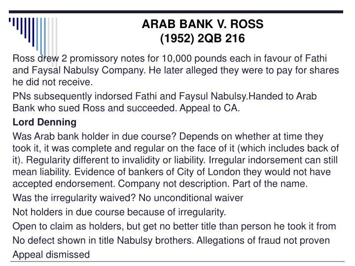 ARAB BANK V. ROSS