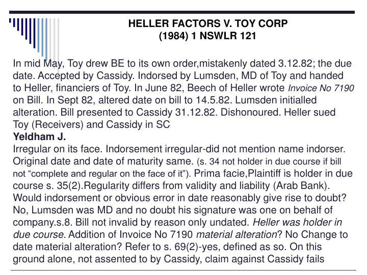 HELLER FACTORS V. TOY CORP