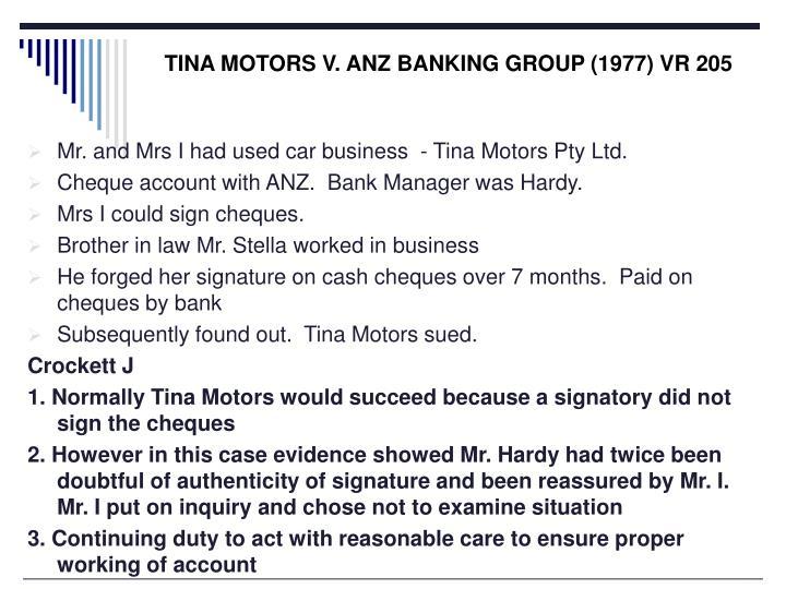 TINA MOTORS V. ANZ BANKING GROUP (1977) VR 205
