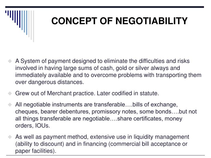 CONCEPT OF NEGOTIABILITY