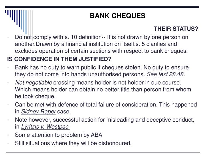 BANK CHEQUES