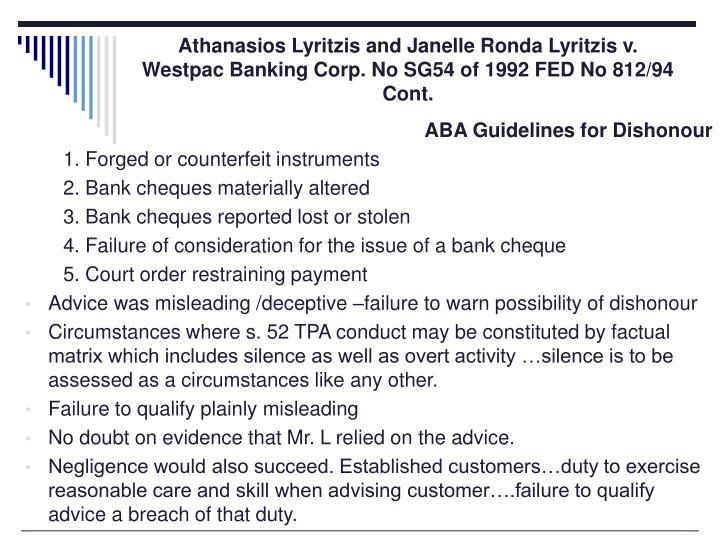 Athanasios Lyritzis and Janelle Ronda Lyritzis v. Westpac Banking Corp. No SG54 of 1992 FED No 812/94