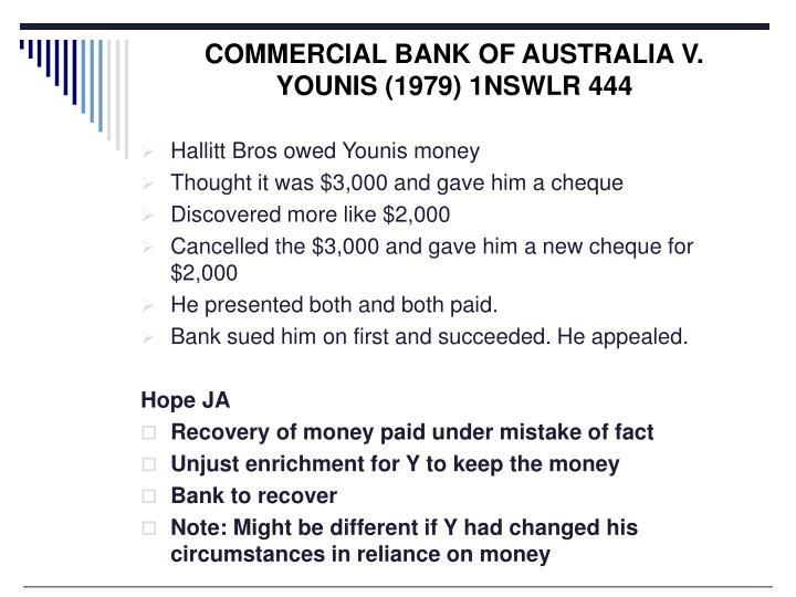 COMMERCIAL BANK OF AUSTRALIA V. YOUNIS (1979) 1NSWLR 444