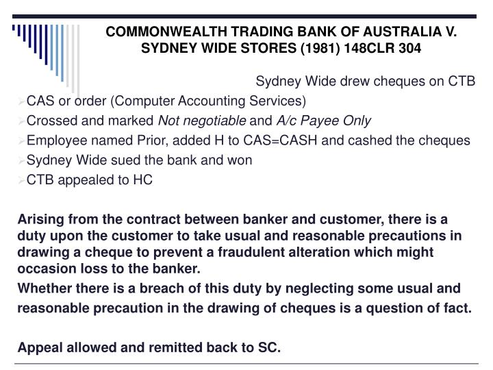 COMMONWEALTH TRADING BANK OF AUSTRALIA V. SYDNEY WIDE STORES (1981) 148CLR 304
