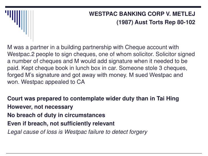 WESTPAC BANKING CORP V. METLEJ