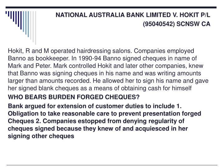 NATIONAL AUSTRALIA BANK LIMITED V. HOKIT P/L