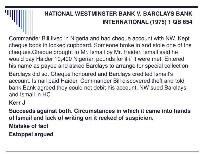 NATIONAL WESTMINSTER BANK V. BARCLAYS BANK