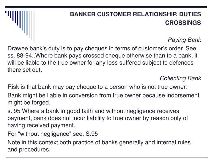 BANKER CUSTOMER RELATIONSHIP, DUTIES