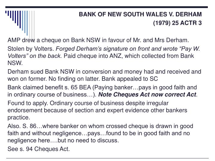BANK OF NEW SOUTH WALES V. DERHAM